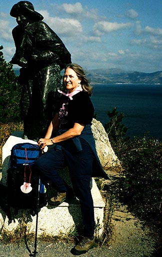 Kate Quinn, shown here while making a pilgrimage to Santiago de Compostela in Spain, has been honoured for her work advocating on behalf of Edmonton's prostitutes.