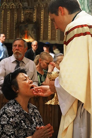 Fr. Matthew Chojna distributes Communion during his ordination Mass in Ottawa June 27.