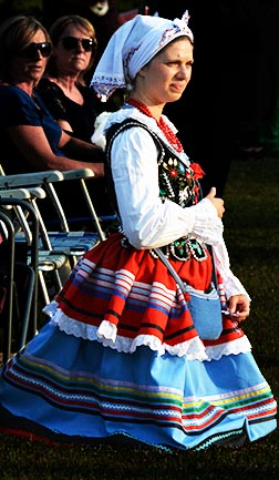 Some come to the pilgrimage wearing their traditional Polish attire.