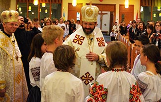 The head of the Ukrainian Catholic Church, Archbishop Sviatoslav Shevchuk, meets with members of St. Basil's Parish during his 2012 visit to Edmonton. Ukrainians are still waiting for the head of their Church to be declared a patriarch.