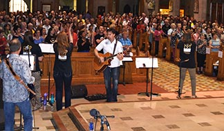 Janelle Reinhart and Festival of Praise led praise and worship that filled the main section of St. Joseph's Basilica prior to a Pentecost Vigil Mass celebrated by Archbishop Richard Smith.
