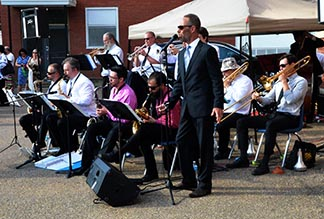 Grant Irwin and Swing Emporium Big Band provided entertainment at the centennial celebration of Grandin School.