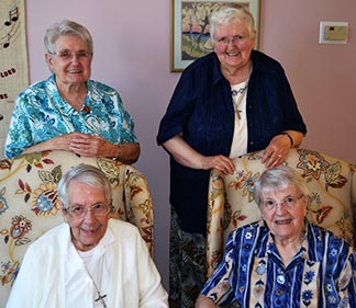 Members of the Daughters of Wisdom in Edmonton (clockwise from top left) Srs. Eleanora Baier, Harriet Hermary, Margaret Suntjens and Rosalie Gaukler.