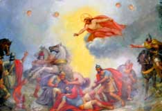 The conversion of St. Paul is depicted in this painting on the ceiling of St. Paul's Basilica in Toronto.