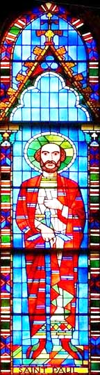 This stained glass image of St. Paul can be found in Sts. Peter and Paul Ukrainian Catholic Church in Mundare.
